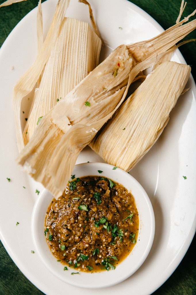 Tamales with fresh corn, chiles and country ham drippings